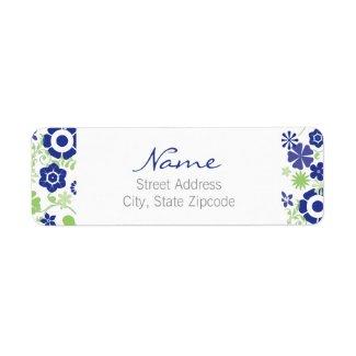 Blue and Green Floral Return Address Label