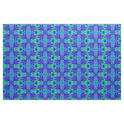 Blue and Green Flower Abstract Fabric