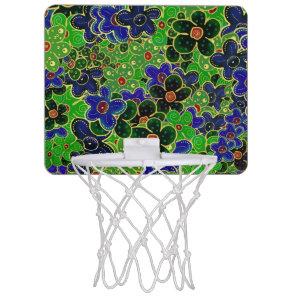blue and green flower mini basketball hoop