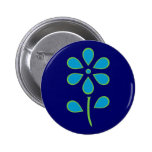Blue and Green Flower Pinback Button