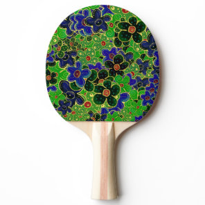 blue and green flower Ping-Pong paddle
