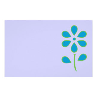 Blue and Green Flower Stationery Paper