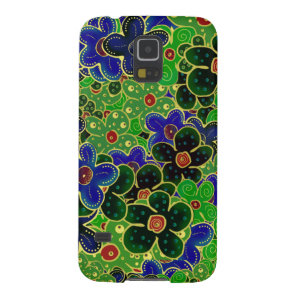 blue and green flower wreath case for galaxy s5