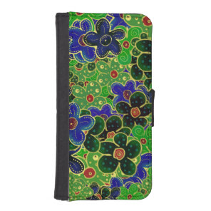 blue and green flower wreath iPhone SE/5/5s wallet