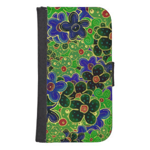 blue and green flower wreath samsung s4 wallet case
