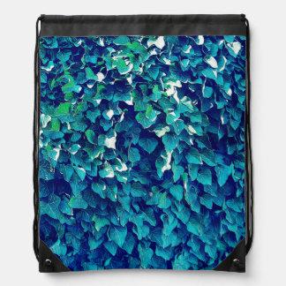 Blue And Green Foliage Drawstring Bag