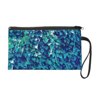 Blue And Green Foliage Wristlet Purse