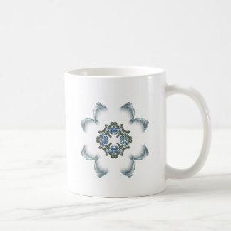 Blue and Green Fractal Art Flower Coffee Mug