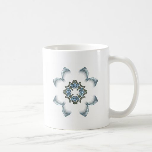 Blue and Green Fractal Art Flower Coffee Mugs