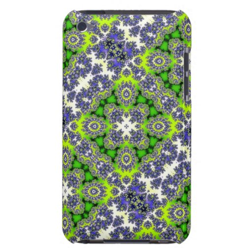 Blue and Green fractal design Barely There iPod Cases