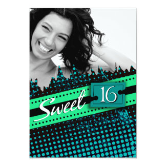 Blue and Green Funky Sweet 16 Birthday Photo Card