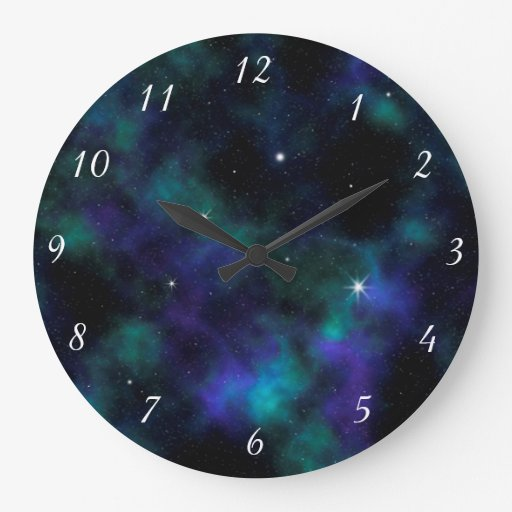 blue and green galaxy design wall clock zazzle