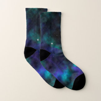 Blue and Green Galaxy Socks