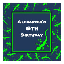 Blue and Green Gecko Lizards Theme Birthday Party Invitation