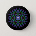 Blue and green geometric figures. button