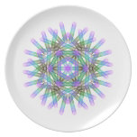 Blue and green geometric figures. dinner plate