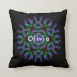 Blue and green geometric figures throw pillow