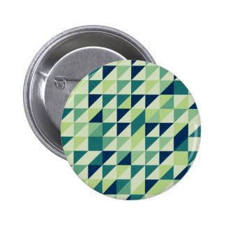 Blue And Green Geometric Grid Pinback Button