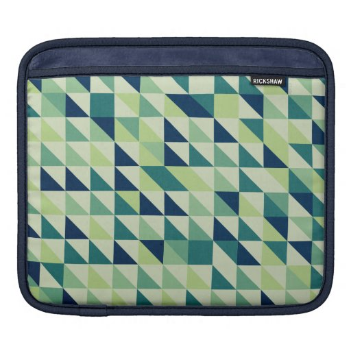 Blue And Green Geometric Grid Sleeves For iPads