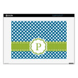 "Blue and Green Gingham Monogrammed 15"" Laptop Skin"