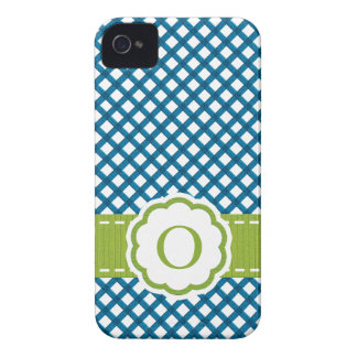 Blue and Green Gingham Monogrammed iPhone 4 Covers