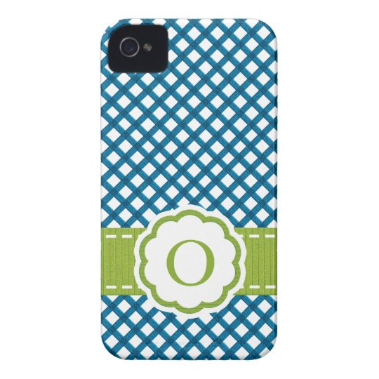 Blue and Green Gingham Monogrammed iPhone 4 Case-Mate Case