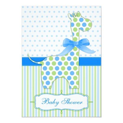 blue and green giraffe baby shower invitation zazzle