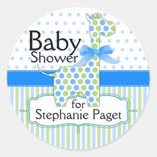 Blue and Green Giraffe Boy Baby Shower Classic Round Sticker