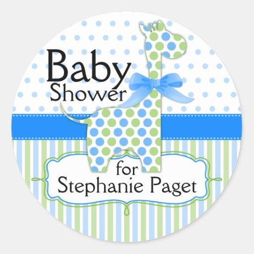blue and green giraffe boy baby shower round stickers zazzle