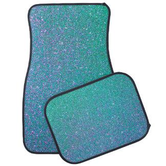 Blue and Green Glitter Car Floor Mat