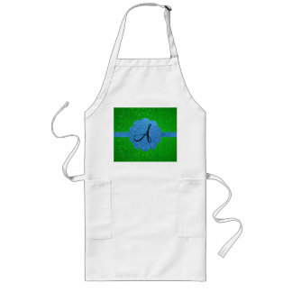 Blue and green glitter monogram aprons