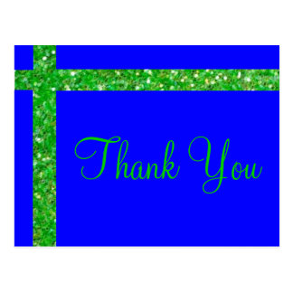 """Blue and green glitter """"thank you"""" card"""