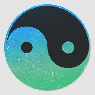 Blue And Green Glitz Look Yin Yang Stickers