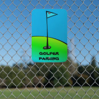 Blue and Green Golf Parking Metal Sign