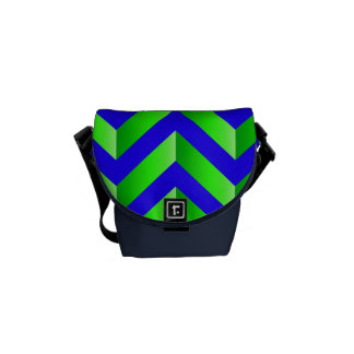 Blue and Green Gradient Chevron Handbag Courier Bags