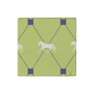 Blue and Green Harleqiun Trotting Horse Pattern Stone Magnet