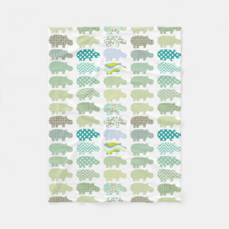 Blue And Green Hippo Blanket