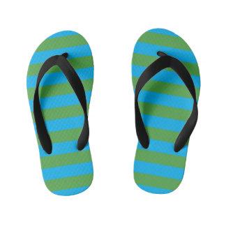 Blue and Green Horizontal Stripes Kid's Flip Flops