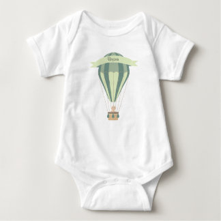 blue and green hot air balloon personalized baby bodysuit