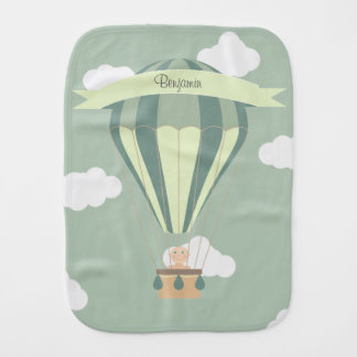Blue and green hot air balloon personalized baby burp cloth