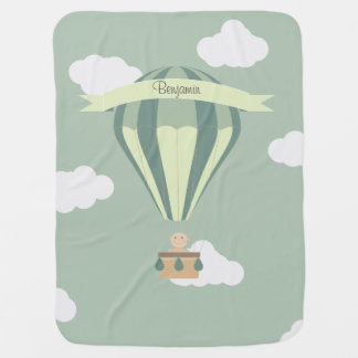 Blue and green hot air balloon personalized swaddle blanket