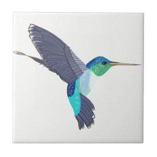 Blue and Green Humming Bird Ceramic Tile