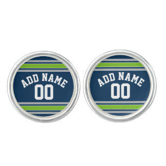 Blue and Green Jersey Stripes Custom Name Number Cufflinks