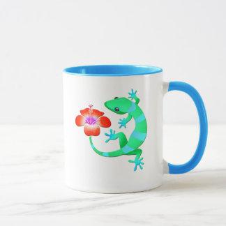 Blue and Green Jungle Lizard with Orange Hibiscus Mug