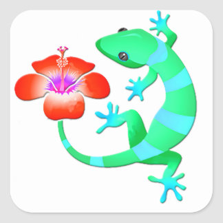 Blue and Green Jungle Lizard with Orange Hibiscus Square Sticker