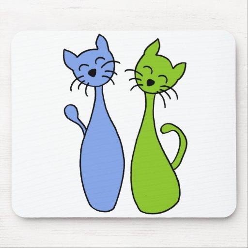 blue and green kitties alfombrilla de ratón