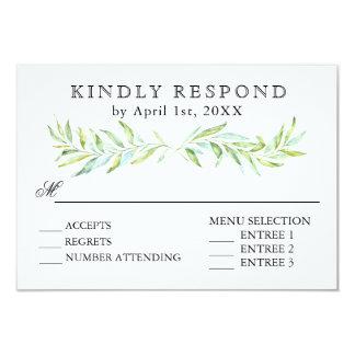 Blue and Green Laurel Wreath Wedding RSVP Card