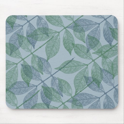 Blue and Green Leaves IV Mouse Pad