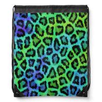 Blue and green leopard print drawstring bag