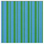 [ Thumbnail: Blue and Green Lines Pattern Fabric ]